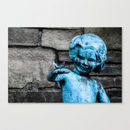 Copper Statue Child and Butterfly Canvas Print