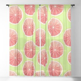 Pink Grapefruit Slices Pattern Sheer Curtain
