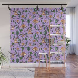 Cute Cactus and Fennec Fox Wall Mural