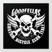 goodfellas Canvas Prints featuring Goodfellas Custom Bicycle Brigade - SUPPORTER Logo by Goodfellas Custom Bicycle Brigade