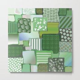 Sage Green Patchwork Metal Print