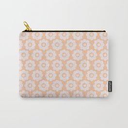 Retro Peach Floral Carry-All Pouch