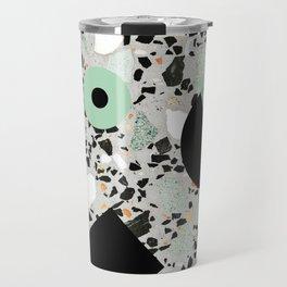 Terrazzo Design Memphis Style Green and Black Travel Mug
