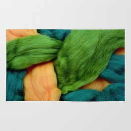 Felting Wool Abstract In Greens And Orange Rug