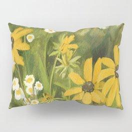 Watercolor Black Eyed Susan Wildflower Botanical Garden Flower Pillow Sham