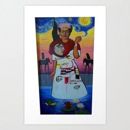 Frida-Basquiat-Van Gogh-Keith Haring-Claude Monet-Dali-Picasso Mesh Art Print