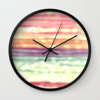 pastel Wall Clocks featuring Pastel  by WhimsyRomance&Fun