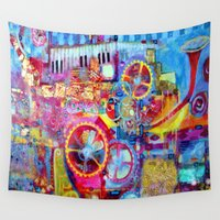 steam punk Wall Tapestries featuring Steam Punk Music Box  by SharlesArt