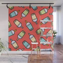 Bubble Tea Pattern in Red Wall Mural
