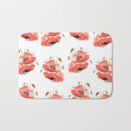 Poppy flowers watercolor Bath Mat