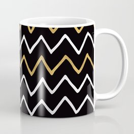 Writing Exercise - Simple Zig Zag Pattern- White Gold on Black - Mix & Match Coffee Mug