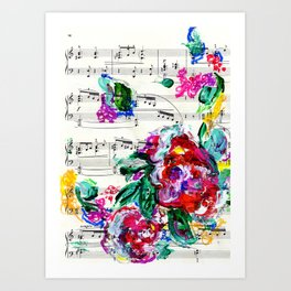 Musical Beauty - Floral Abstract - Piano Notes Art Print