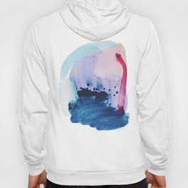 PYT: a minimal abstract mixed media piece on canvas in blues, pink, purple, and white Hoody