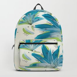 Turquoise blue flowers. Backpack