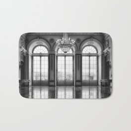 Giant French castle windows antique Paris ballroom hall and chandelier baroque wall mural background Bath Mat