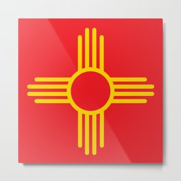 Yellow Sun - Zia Symbol Metal Print