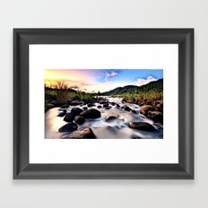 Gorgeous Epic River in Landscape with Sunset Framed Art Print