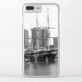 A US Frigate Ship in Baltimore, MD Clear iPhone Case