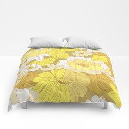 Yellow, Ivory & Brown Retro Flowers Comforters