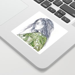 Tropical Palm Print Portrait Sticker
