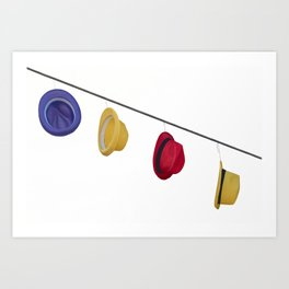 isolated colorful hats hanging at the party Art Print