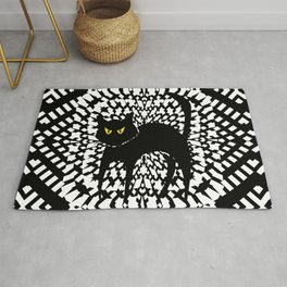 Halloween Cat Black And White Rug