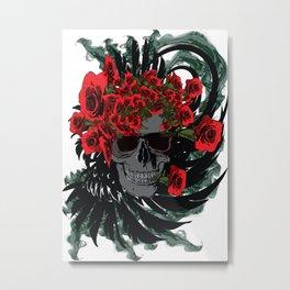 Roses Skull Metal Print