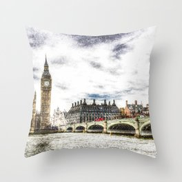 Westminster Bridge London snow Throw Pillow