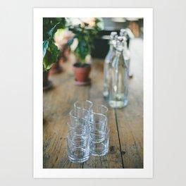 Wood Grain & Glasses  Art Print