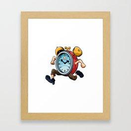 Clock Man Running Framed Art Print