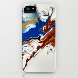 Fluid Gold, Blue and Brown Abstract Painting -Rule the World iPhone Case