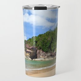 Exotic sand beach and cliffs with forest Travel Mug