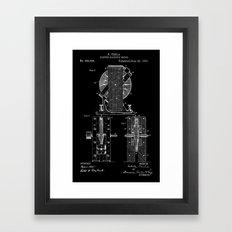 Nikola Tesla Electro Magnetic Motor Patent Art - White on Black Framed Art Print