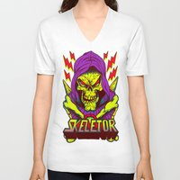 skeletor V-neck T-shirts featuring skeletor by Vincent Trinidad