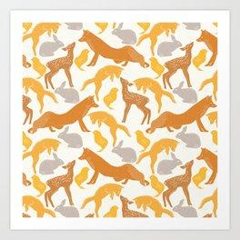 Pastel vintage orange brown spring cute animal pattern Art Print