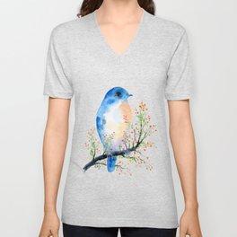 Watercolor bluebird on Berry Branch Unisex V-Neck