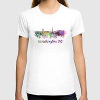 washington dc T-shirts featuring Washington DC skyline in watercolor splatters by Paulrommer