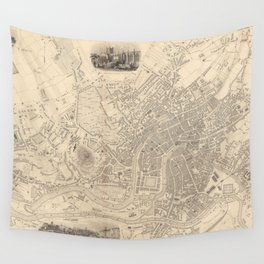 Vintage Map of Bristol England (1851) Wall Tapestry