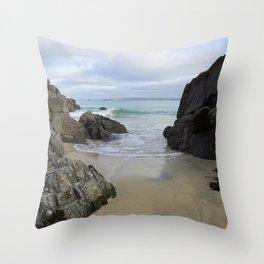 Turquoise Waves Crashing on Porthmeor Rocks Throw Pillow