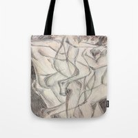 cuddle Tote Bags featuring Cuddle  by Melissa Roberts