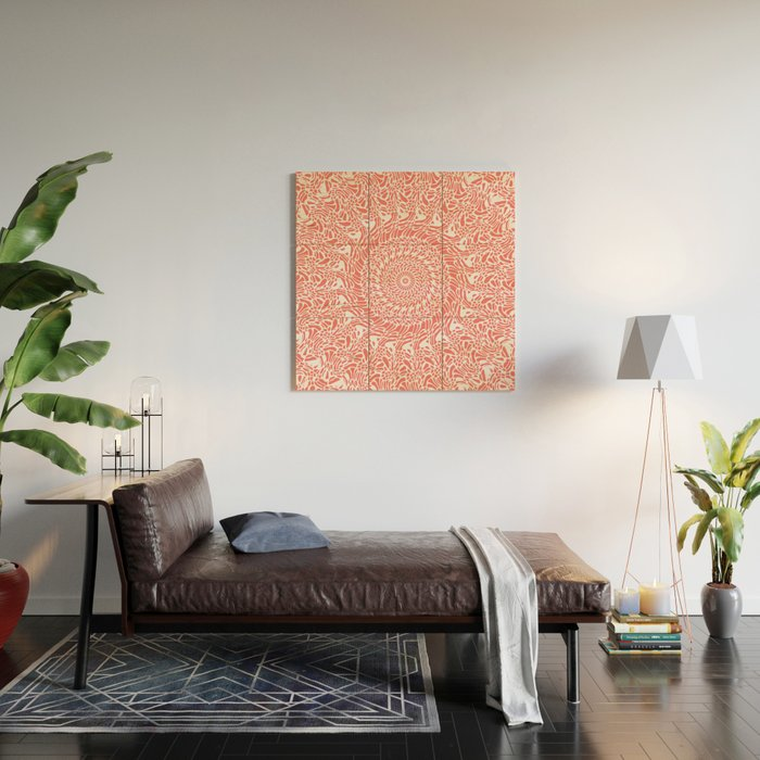 Coral and White Mandala Wood Wall Art