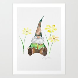 Gnome & Flowers Art Print