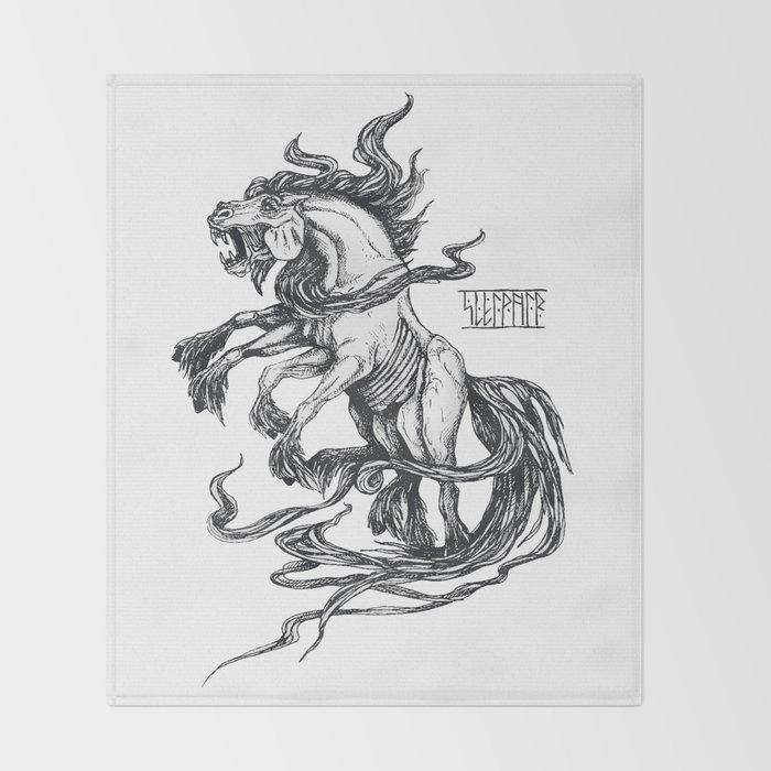 Mythological horse Sleipnir Throw Blanket