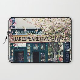 Cherry blossoms in Paris, Shakespeare & Co. Laptop Sleeve