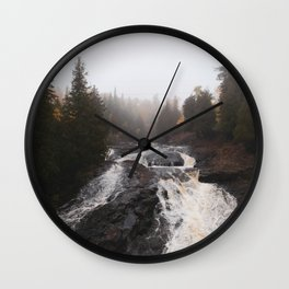 Foggy Waterfall in Minnesota Wall Clock