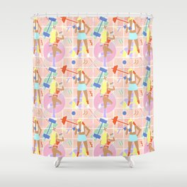 Neon 80's Fitness in Pastel Shower Curtain