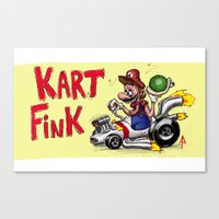 mario kart Canvas Prints featuring Kart Fink Big Bro! by Avedon Arcade