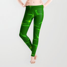 Lime diamonds and squares at the intersection with the stars on a green background. Leggings
