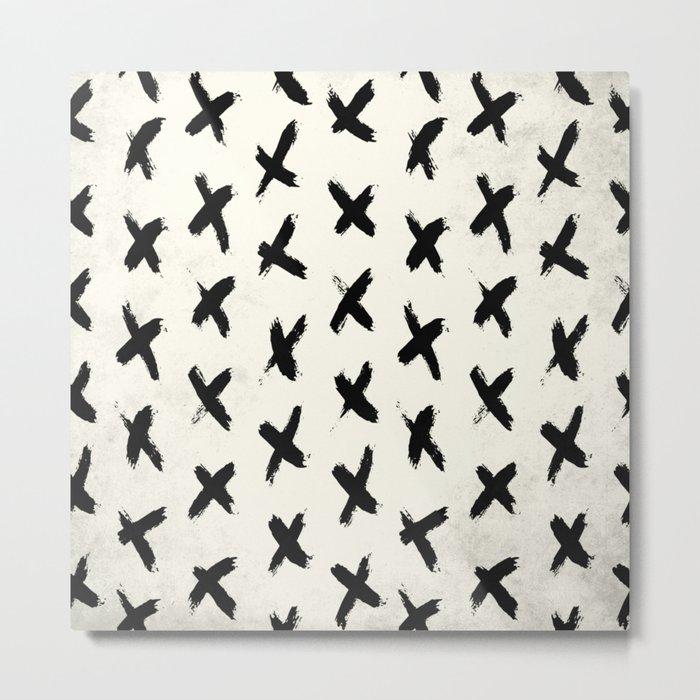 Black X on Ivory Metal Print