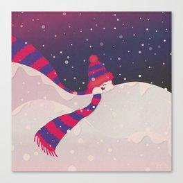 Christmas Peekaboo Snowman II - Blue Violet Snowy Background Canvas Print